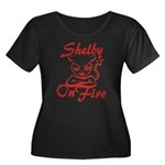 Shelby On Fire Women's Plus Size Scoop Neck Dark T