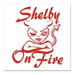 Shelby On Fire Square Car Magnet 3