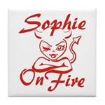 Sophie On Fire Tile Coaster