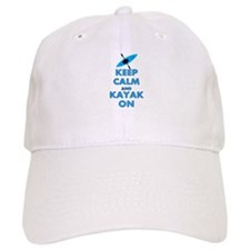 KEEP CALM AND KAYAK BLUE.PNG Baseball Cap