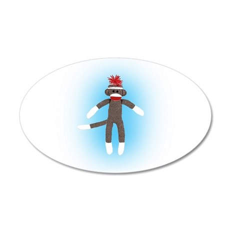 Awesome Sock Monkey 35x21 Oval Wall Decal