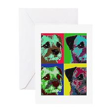 Pop Art Border Terrier Greeting Card