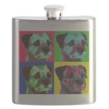 Pop Art Border Terrier Flask