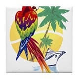 Tropical Paradise with Macaw and Cruise Ship Tile