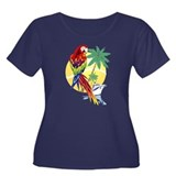Tropical Paradise with Macaw and Cruise Ship Women