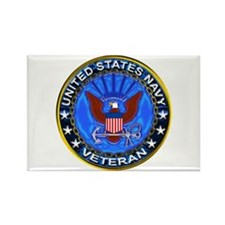 Blue US Navy Veteran Eagle Rectangle Magnet