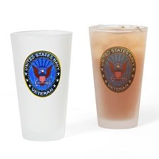 Blue US Navy Veteran Eagle Drinking Glass