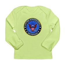 Blue US Navy Veteran Eagle Long Sleeve Infant T-Sh