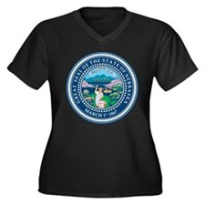Nebraska State Seal Women's Plus Size V-Neck Dark