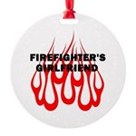 Firefighters Girlfriend Flames Round Ornament