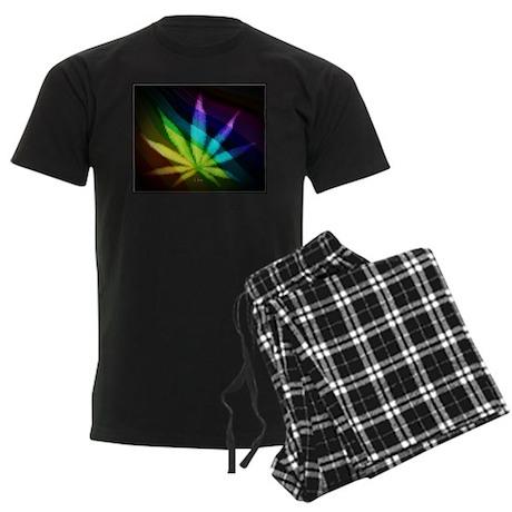 Rainbow Weed Men's Dark Pajamas