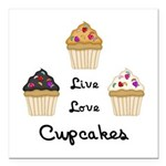 "Live Love Cupcakes Square Car Magnet 3"" x 3&q"