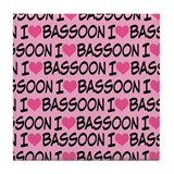 I Love Bassoon Tile Coaster