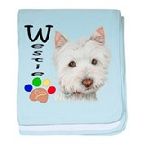 Westie Dog and Paw Print Design baby blanket