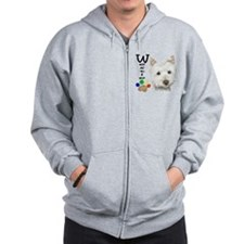 Westie Dog and Paw Print Design Zip Hoodie