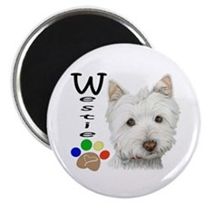 "Westie Dog and Paw Print Design 2.25"" Magnet"