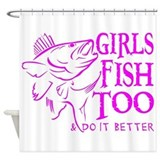 GIRLS FISH TOO WALLEYE Shower Curtain