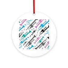 Fun Trumpet Music Gift Ornament (Round)