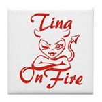 Tina On Fire Tile Coaster