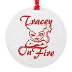 Tracey On Fire Round Ornament