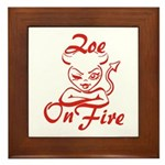 Zoe On Fire Framed Tile