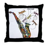 Wild Saxophone Throw Pillow