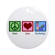 Peace Love Psychology Ornament (Round)