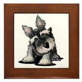 Curious Schnauzer Framed Tile