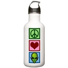 Peace Love Aliens Water Bottle
