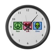 Peace Love Aliens Large Wall Clock