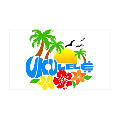 Ukulele Island Logo 35x21 Wall Decal