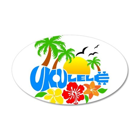 Ukulele Island Logo 20x12 Oval Wall Decal