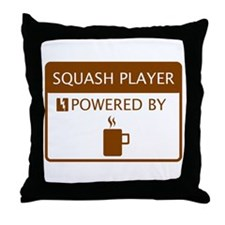 Squash Player Powered by Coffee Throw Pillow