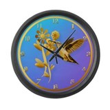 Gold Hummingbird Large Wall Clock