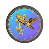 Gold Hummingbird Wall Clock