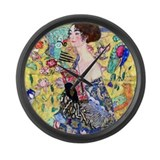 Klimt - Lady w/Fan Large Wall Clock