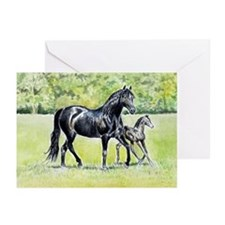 Black Morgan mare and foal note cards (Pk of 10)