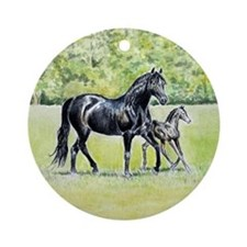 Black Morgan Mare and Foal Ornament
