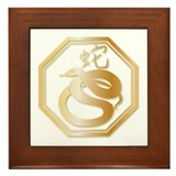 Gold tone Year of the Snake Framed Tile