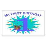 1st Birthday Rectangle Sticker