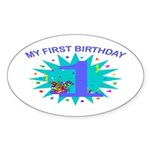 1st Birthday Oval Sticker
