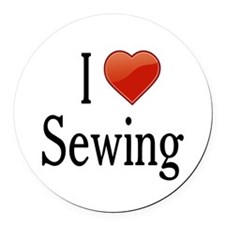 I Love Sewing Round Car Magnet