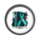 Grunge Ovarian Cancer Wall Clock
