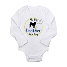 Cute Black pug Long Sleeve Infant Bodysuit