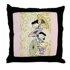 Umbrella Girls Throw Pillow