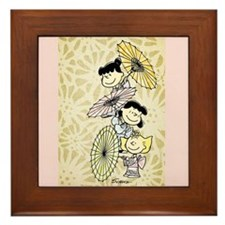 Umbrella Girls Framed Tile