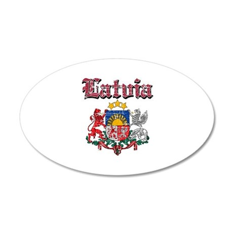 Latvia Coat of arms 20x12 Oval Wall Decal