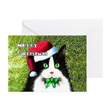 Tuxedo Cat Christmas Greeting Cards (Pk of 10)
