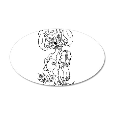 Evil Rabbit 20x12 Oval Wall Decal