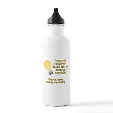 Conductor lightbulb joke Water Bottle